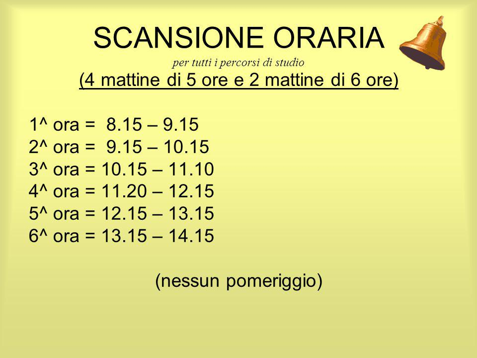 SCANSIONE ORARIA per tutti i percorsi di studio (4 mattine di 5 ore e 2 mattine di 6 ore) 1^ ora = 8.15 – 9.15 2^ ora = 9.15 – 10.15 3^ ora = 10.15 –