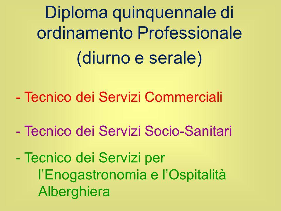 - Tecnico dei Servizi Commerciali - Tecnico dei Servizi Socio-Sanitari - Tecnico dei Servizi per l'Enogastronomia e l'Ospitalità Alberghiera Diploma q