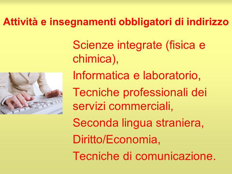 Attività e insegnamenti obbligatori di indirizzo Scienze integrate (fisica e chimica), Informatica e laboratorio, Tecniche professionali dei servizi c