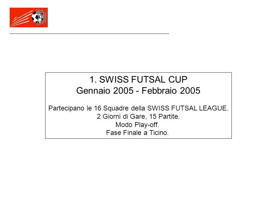 1. SWISS FUTSAL CUP Gennaio 2005 - Febbraio 2005 Partecipano le 16 Squadre della SWISS FUTSAL LEAGUE. 2 Giorni di Gare, 15 Partite. Modo Play-off. Fas