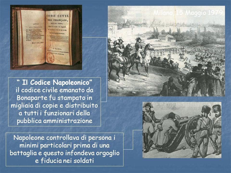 Milano, 15 Maggio 1979 Il Codice Napoleonico il codice civile emanato da Bonaparte fu stampato in migliaia di copie e distribuito a tutti i funzionari della pubblica amministrazione Napoleone controllava di persona i minimi particolari prima di una battaglia e questo infondeva orgoglio e fiducia nei soldati