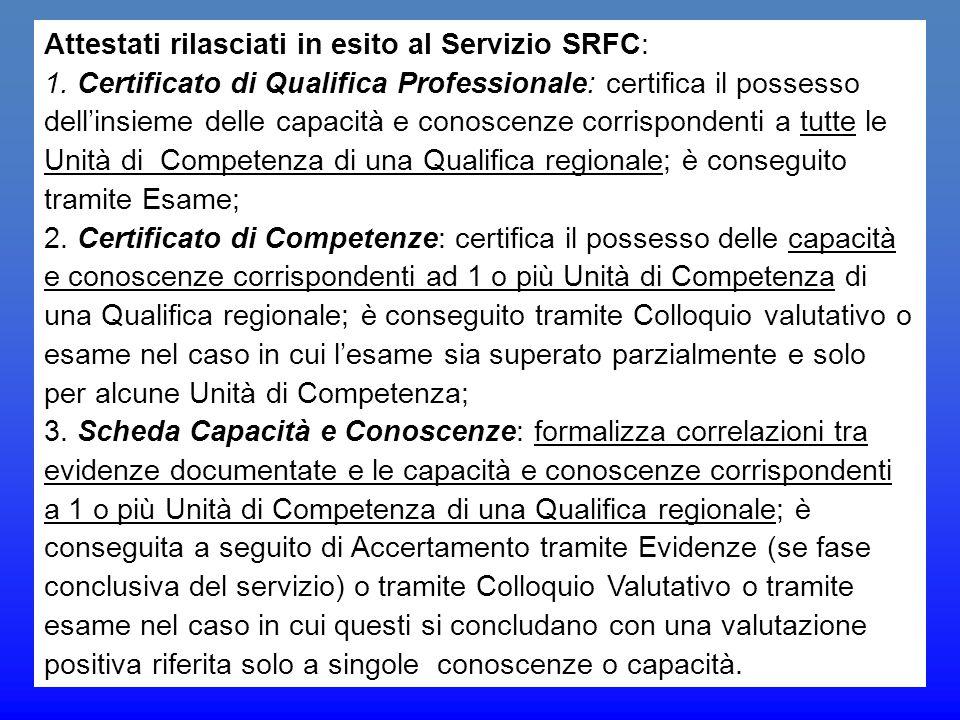 Attestati rilasciati in esito al Servizio SRFC: 1. Certificato di Qualifica Professionale: certifica il possesso dell'insieme delle capacità e conosce