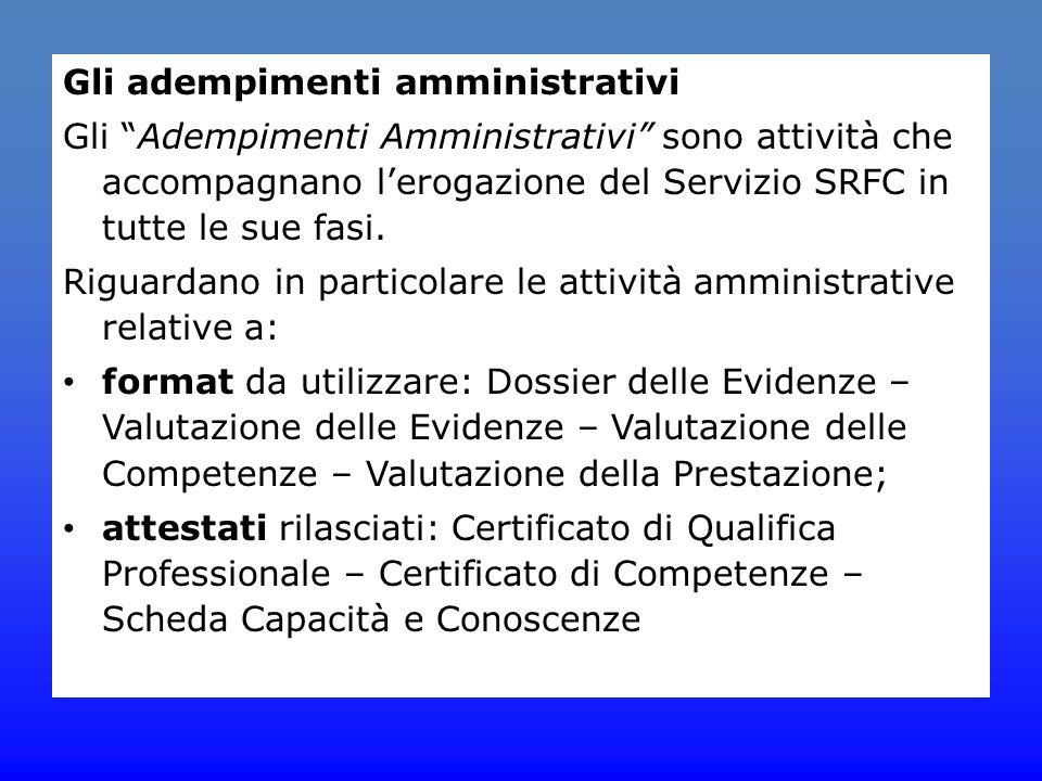"""Gli adempimenti amministrativi Gli """"Adempimenti Amministrativi"""" sono attività che accompagnano l'erogazione del Servizio SRFC in tutte le sue fasi. Ri"""