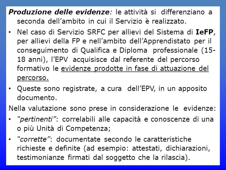 Produzione delle evidenze: le attività si differenziano a seconda dell'ambito in cui il Servizio è realizzato. Nel caso di Servizio SRFC per allievi d