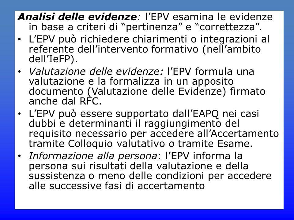 """Analisi delle evidenze: l'EPV esamina le evidenze in base a criteri di """"pertinenza"""" e """"correttezza"""". L'EPV può richiedere chiarimenti o integrazioni a"""