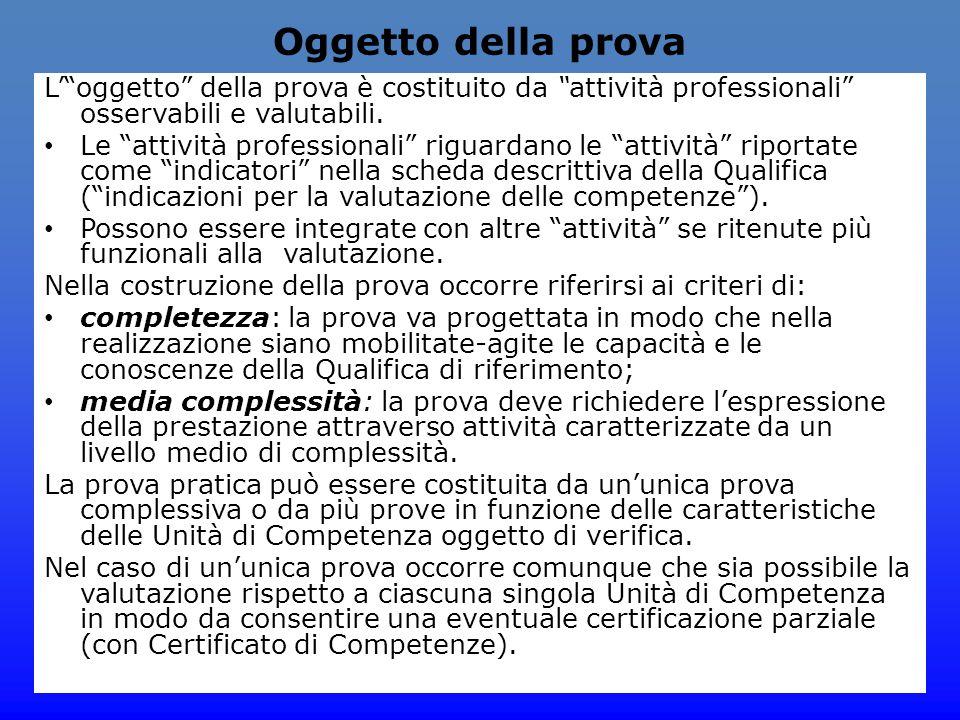 """Oggetto della prova L'""""oggetto"""" della prova è costituito da """"attività professionali"""" osservabili e valutabili. Le """"attività professionali"""" riguardano"""