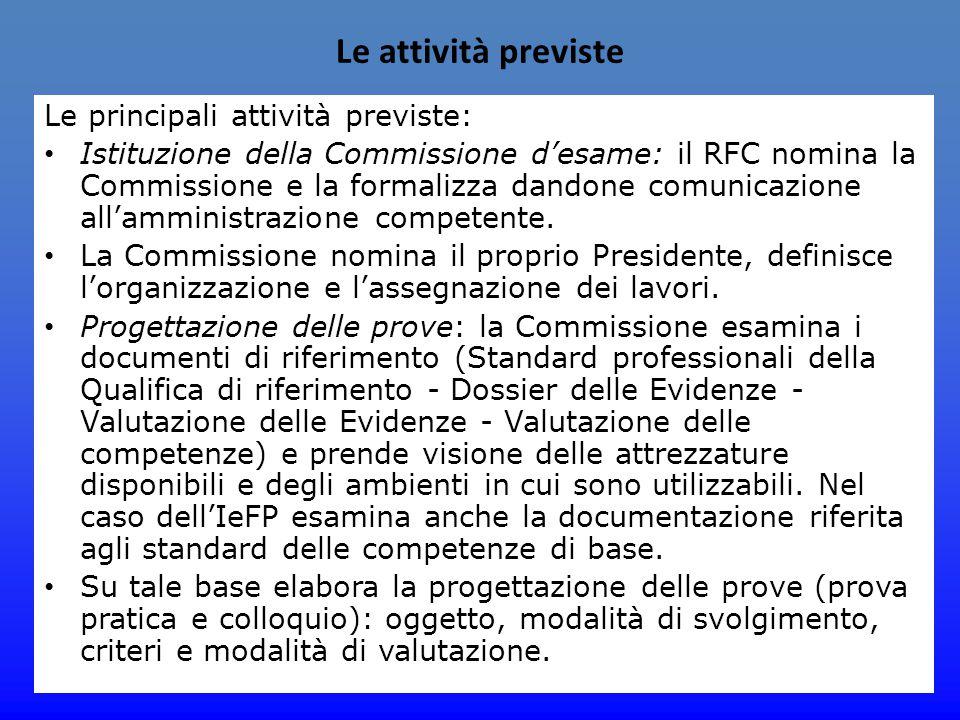 Le attività previste Le principali attività previste: Istituzione della Commissione d'esame: il RFC nomina la Commissione e la formalizza dandone comu