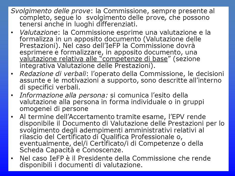 Svolgimento delle prove: la Commissione, sempre presente al completo, segue lo svolgimento delle prove, che possono tenersi anche in luoghi differenzi