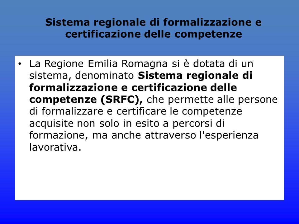 Sistema regionale di formalizzazione e certificazione delle competenze La Regione Emilia Romagna si è dotata di un sistema, denominato Sistema regiona