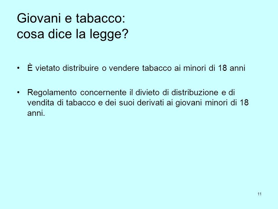 11 Giovani e tabacco: cosa dice la legge? È vietato distribuire o vendere tabacco ai minori di 18 anni Regolamento concernente il divieto di distribuz