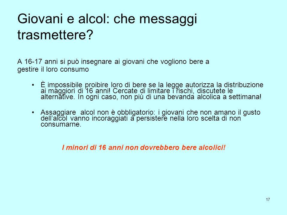 17 Giovani e alcol: che messaggi trasmettere? A 16-17 anni si può insegnare ai giovani che vogliono bere a gestire il loro consumo È impossibile proib
