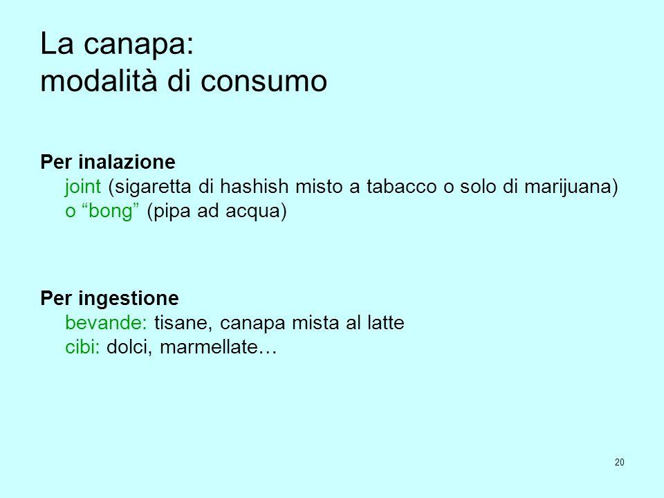 20 La canapa: modalità di consumo Per inalazione joint (sigaretta di hashish misto a tabacco o solo di marijuana) o bong (pipa ad acqua) Per ingestione bevande: tisane, canapa mista al latte cibi: dolci, marmellate…