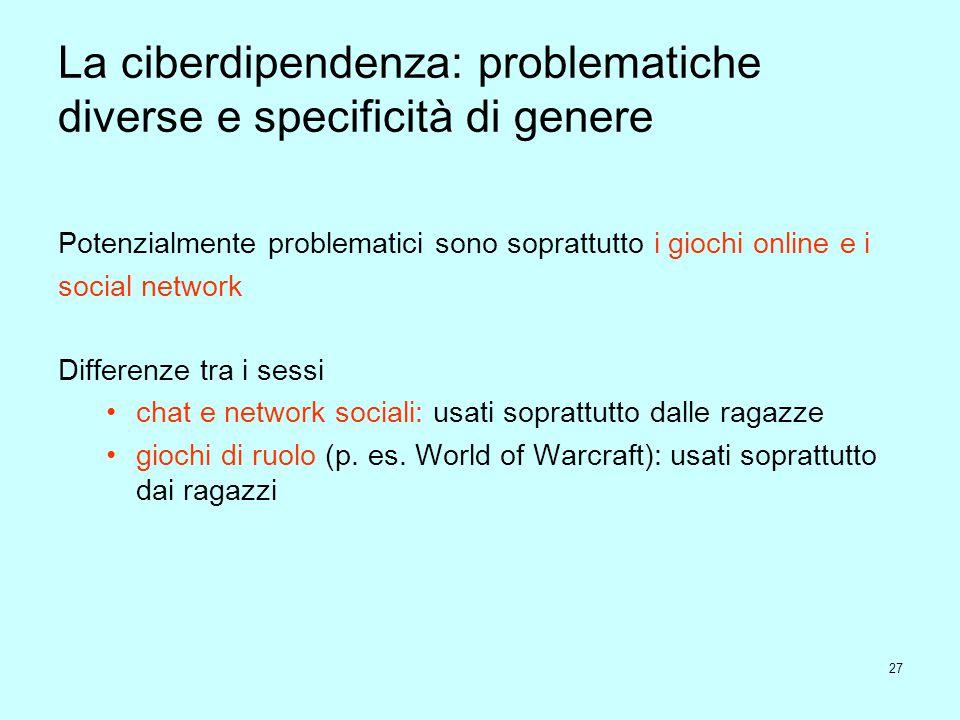 27 La ciberdipendenza: problematiche diverse e specificità di genere Potenzialmente problematici sono soprattutto i giochi online e i social network D