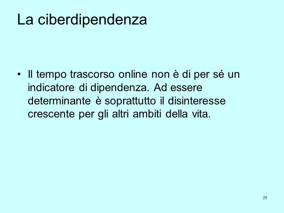 29 La ciberdipendenza Il tempo trascorso online non è di per sé un indicatore di dipendenza. Ad essere determinante è soprattutto il disinteresse cres