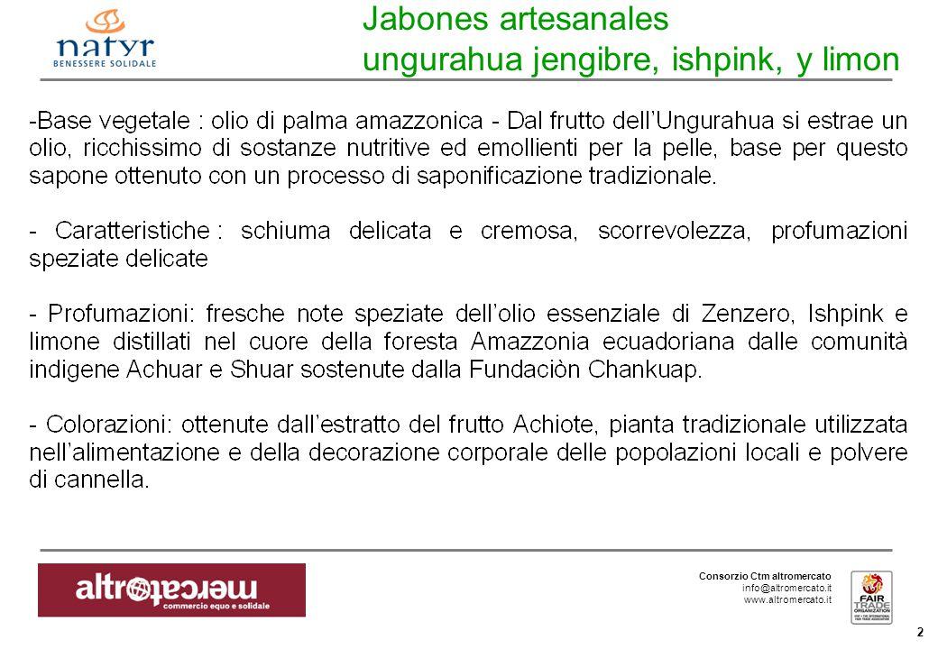 Consorzio Ctm altromercato info@altromercato.it www.altromercato.it 2 Jabones artesanales ungurahua jengibre, ishpink, y limon