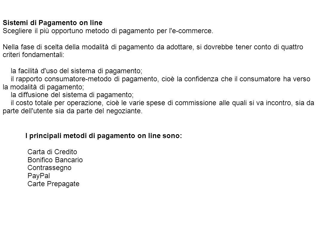 Sistemi di Pagamento on line Scegliere il più opportuno metodo di pagamento per l'e-commerce. Nella fase di scelta della modalità di pagamento da adot