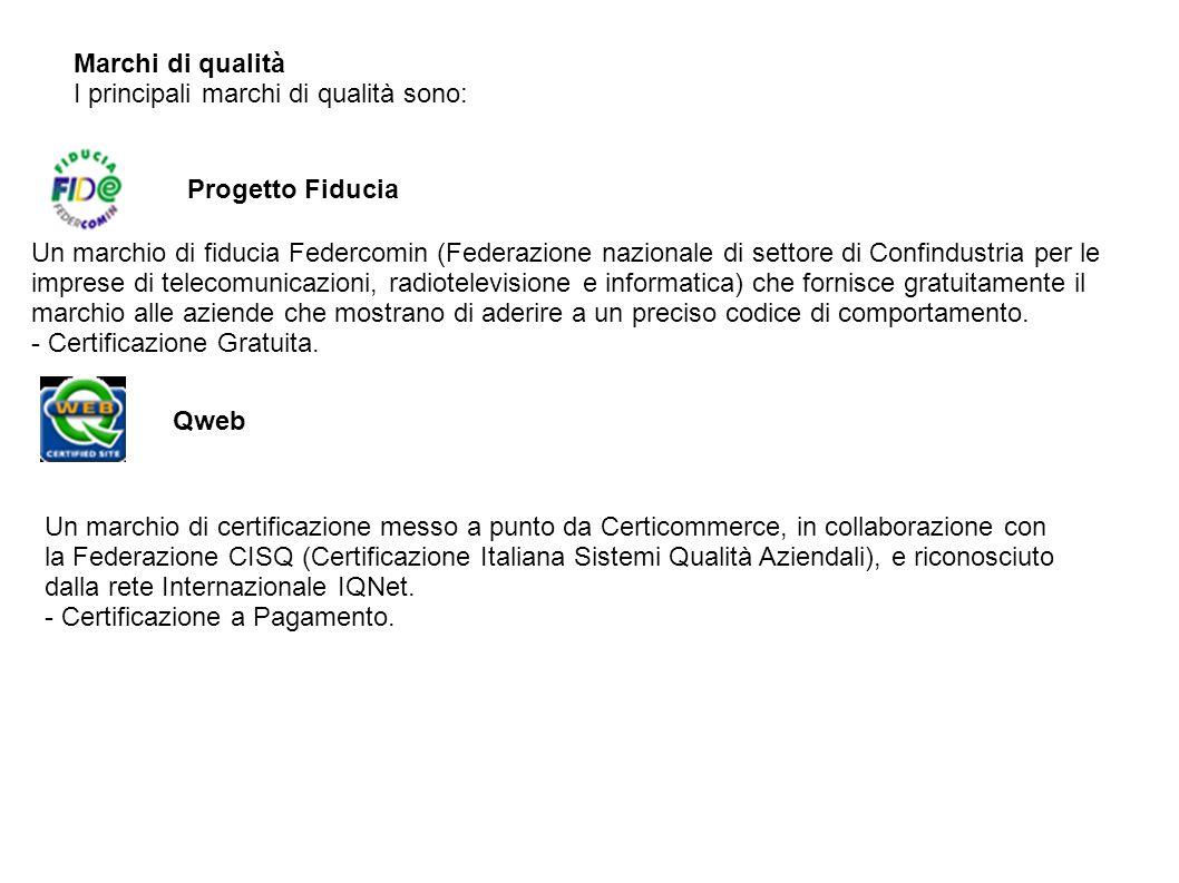 Marchi di qualità I principali marchi di qualità sono: Progetto Fiducia Un marchio di fiducia Federcomin (Federazione nazionale di settore di Confindu