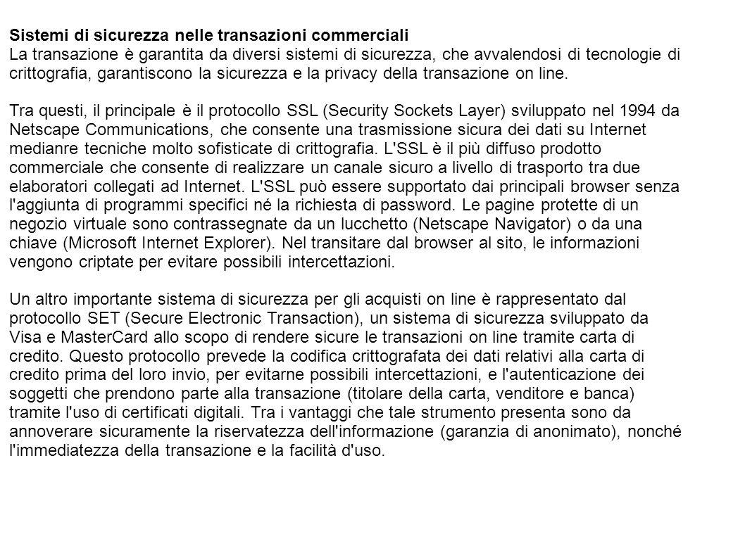 Sistemi di sicurezza nelle transazioni commerciali La transazione è garantita da diversi sistemi di sicurezza, che avvalendosi di tecnologie di critto