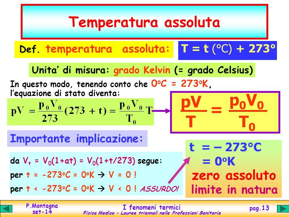 P.Montagna set-14 I fenomeni termici Fisica Medica – Lauree triennali nelle Professioni Sanitarie pag.13 Temperatura assoluta Def. temperatura assolut