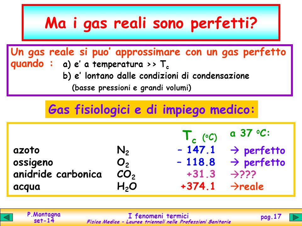 P.Montagna set-14 I fenomeni termici Fisica Medica – Lauree triennali nelle Professioni Sanitarie pag.17 Ma i gas reali sono perfetti? N 2 – 147.1 O 2