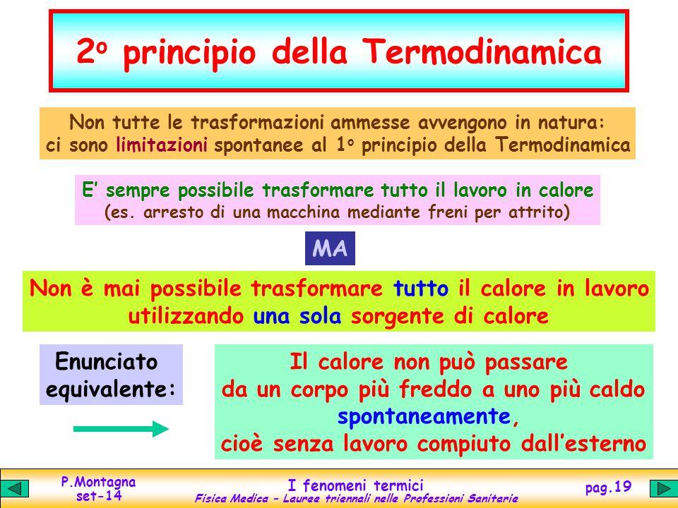 P.Montagna set-14 I fenomeni termici Fisica Medica – Lauree triennali nelle Professioni Sanitarie pag.19 2 o principio della Termodinamica Non tutte l