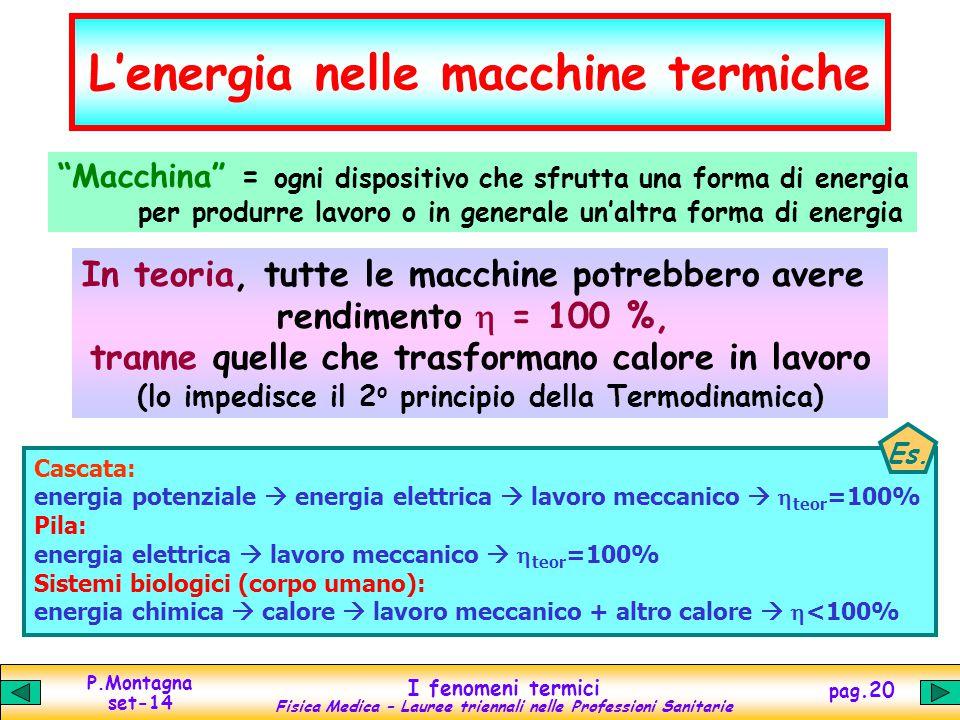 """P.Montagna set-14 I fenomeni termici Fisica Medica – Lauree triennali nelle Professioni Sanitarie pag.20 L'energia nelle macchine termiche """"Macchina"""""""