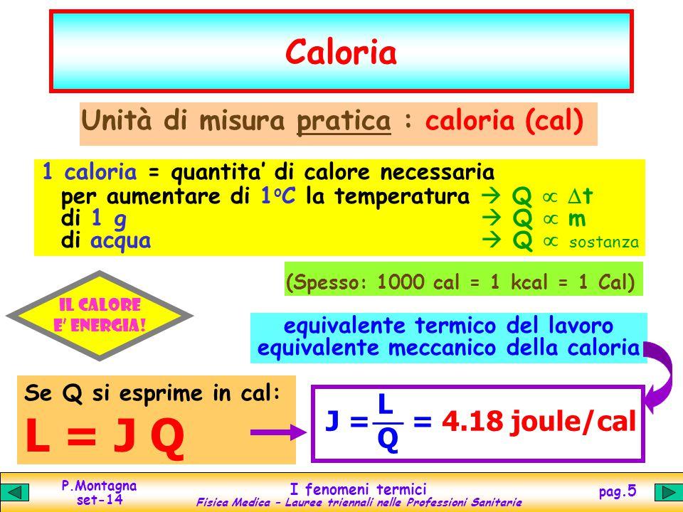 P.Montagna set-14 I fenomeni termici Fisica Medica – Lauree triennali nelle Professioni Sanitarie pag.5 Caloria Unità di misura pratica : caloria (cal