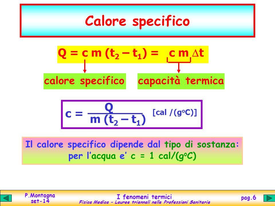 P.Montagna set-14 I fenomeni termici Fisica Medica – Lauree triennali nelle Professioni Sanitarie pag.6 Calore specifico Q = c m (t 2 – t 1 ) = c m 