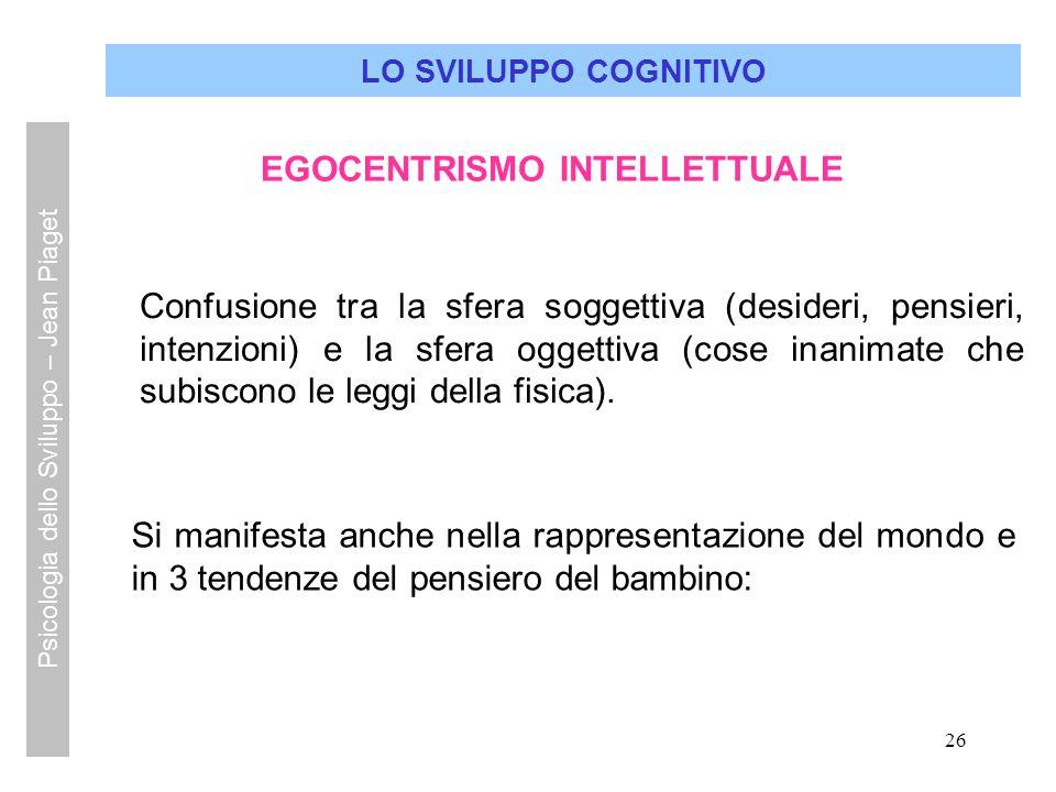 26 LO SVILUPPO COGNITIVO EGOCENTRISMO INTELLETTUALE Confusione tra la sfera soggettiva (desideri, pensieri, intenzioni) e la sfera oggettiva (cose ina
