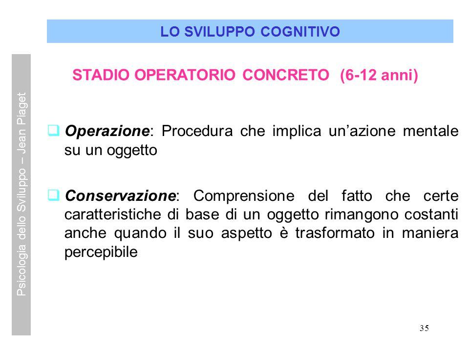 35 LO SVILUPPO COGNITIVO STADIO OPERATORIO CONCRETO (6-12 anni)  Operazione: Procedura che implica un'azione mentale su un oggetto  Conservazione: C
