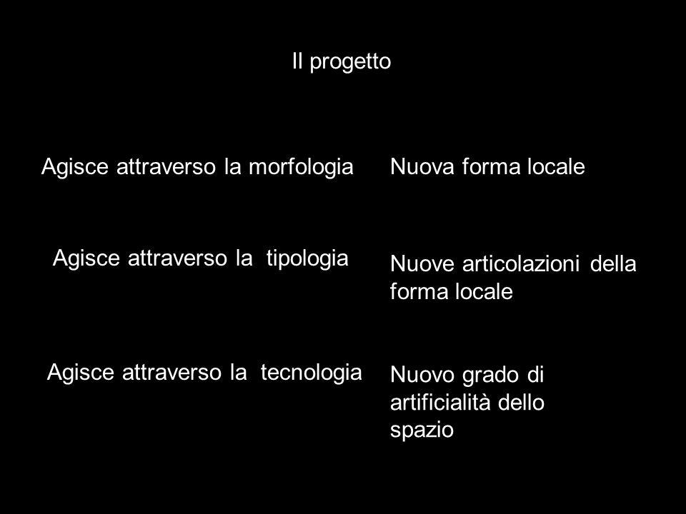 Il progetto Agisce attraverso la morfologiaNuova forma locale Agisce attraverso la tipologia Agisce attraverso la tecnologia Nuove articolazioni della forma locale Nuovo grado di artificialità dello spazio
