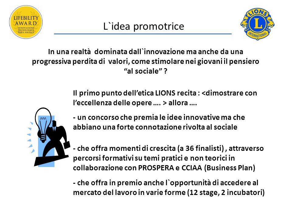 L`idea promotrice In una realtà dominata dall`innovazione ma anche da una progressiva perdita di valori, come stimolare nei giovani il pensiero al sociale .