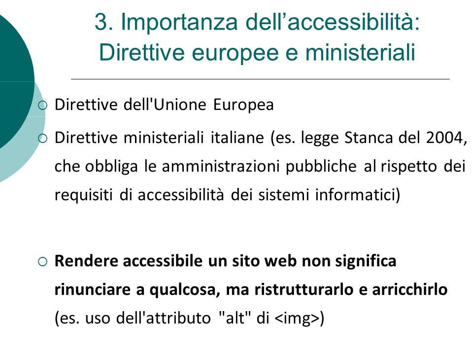 3. Importanza dell'accessibilità: Direttive europee e ministeriali  Direttive dell'Unione Europea  Direttive ministeriali italiane (es. legge Stanca