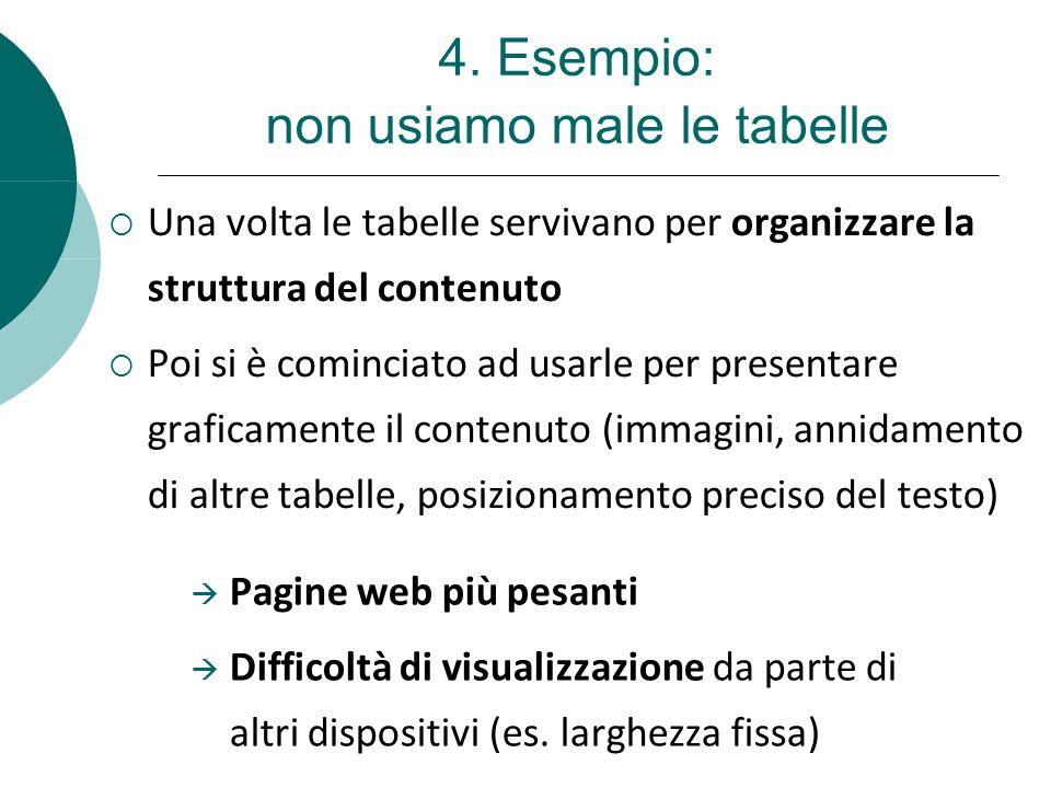 4. Esempio: non usiamo male le tabelle  Una volta le tabelle servivano per organizzare la struttura del contenuto  Poi si è cominciato ad usarle per