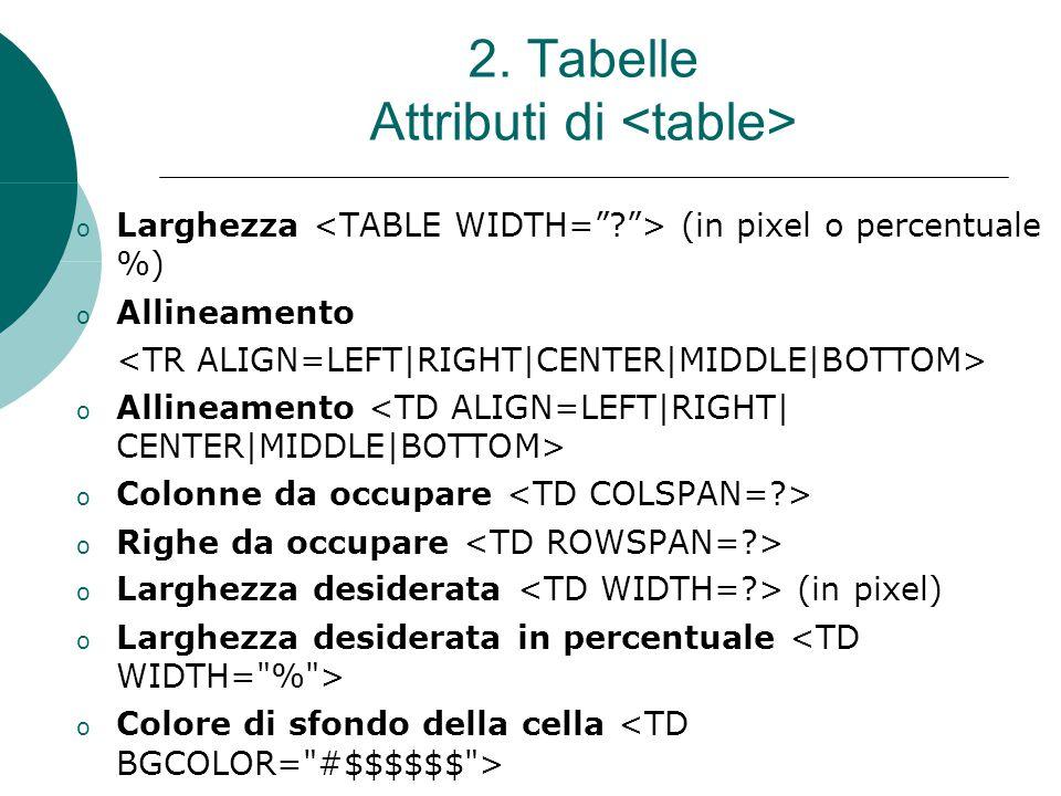 2. Tabelle Attributi di o Larghezza (in pixel o percentuale %)  o Allineamento o Allineamento o Colonne da occupare o Righe da occupare o Larghezza d