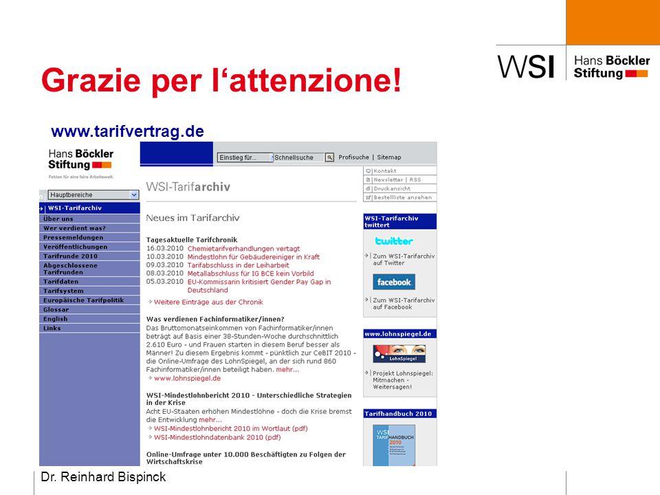 Dr. Reinhard Bispinck Grazie per l'attenzione! www.tarifvertrag.de