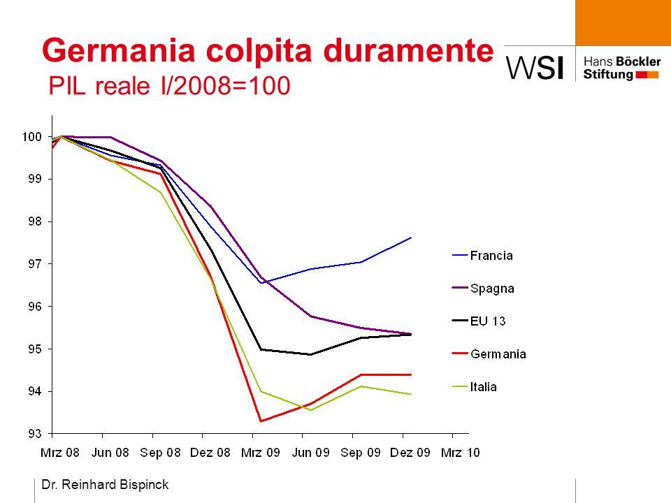 Dr. Reinhard Bispinck Germania colpita duramente PIL reale I/2008=100