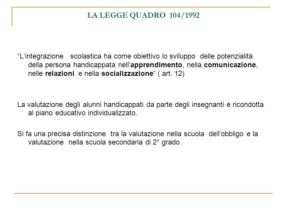 LA LEGGE QUADRO 104/1992 L'integrazione scolastica ha come obiettivo lo sviluppo delle potenzialità della persona handicappata nell'apprendimento, nella comunicazione, nelle relazioni e nella socializzazione ( art.