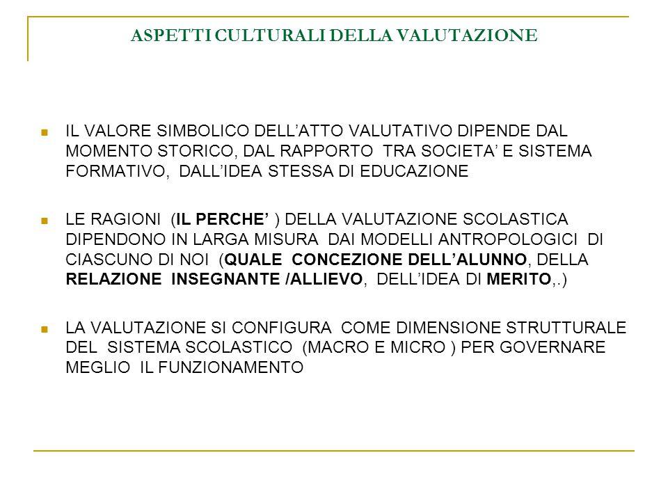 ASPETTI CULTURALI DELLA VALUTAZIONE IL VALORE SIMBOLICO DELL'ATTO VALUTATIVO DIPENDE DAL MOMENTO STORICO, DAL RAPPORTO TRA SOCIETA' E SISTEMA FORMATIVO, DALL'IDEA STESSA DI EDUCAZIONE LE RAGIONI (IL PERCHE' ) DELLA VALUTAZIONE SCOLASTICA DIPENDONO IN LARGA MISURA DAI MODELLI ANTROPOLOGICI DI CIASCUNO DI NOI (QUALE CONCEZIONE DELL'ALUNNO, DELLA RELAZIONE INSEGNANTE /ALLIEVO, DELL'IDEA DI MERITO,.) LA VALUTAZIONE SI CONFIGURA COME DIMENSIONE STRUTTURALE DEL SISTEMA SCOLASTICO (MACRO E MICRO ) PER GOVERNARE MEGLIO IL FUNZIONAMENTO