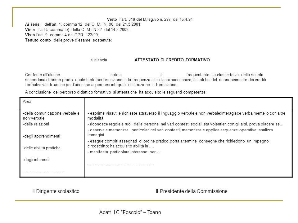 Visto l'art.318 del D.leg.vo n. 297 del 16.4.94 Ai sensi dell'art.