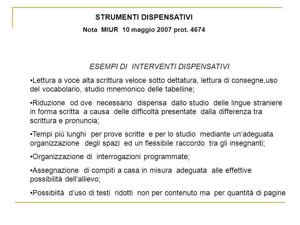 STRUMENTI DISPENSATIVI Nota MIUR 10 maggio 2007 prot.