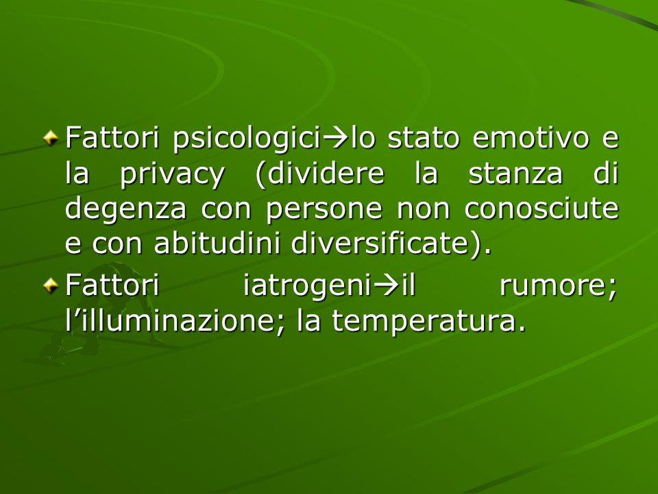Fattori psicologici  lo stato emotivo e la privacy (dividere la stanza di degenza con persone non conosciute e con abitudini diversificate). Fattori