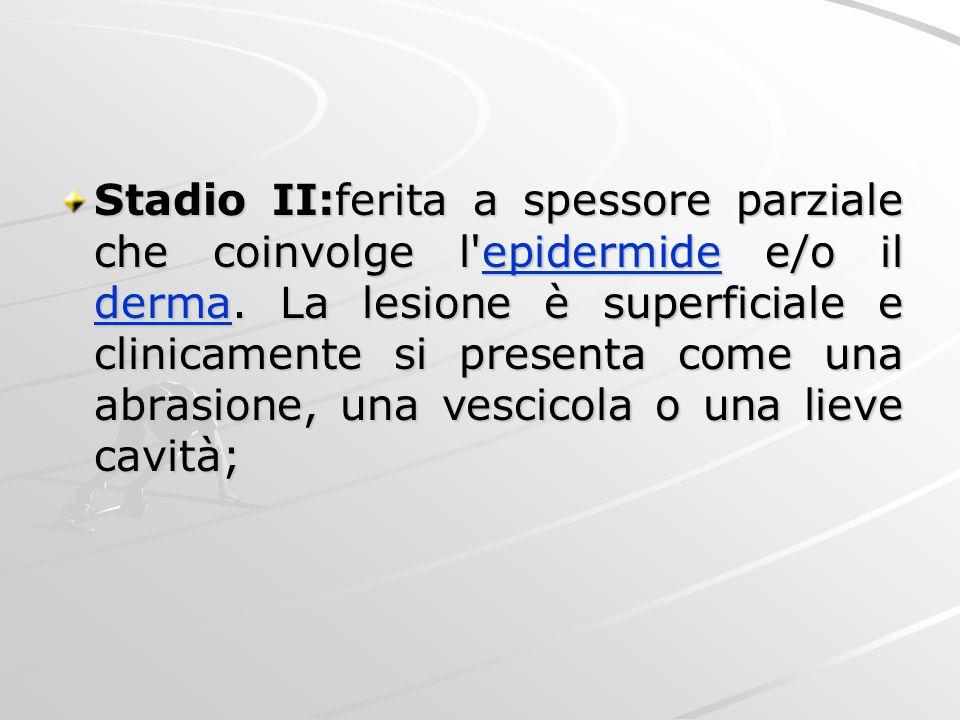 Stadio II:ferita a spessore parziale che coinvolge l'epidermide e/o il derma. La lesione è superficiale e clinicamente si presenta come una abrasione,