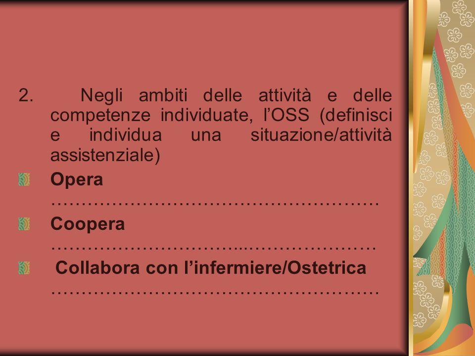 2. Negli ambiti delle attività e delle competenze individuate, l'OSS (definisci e individua una situazione/attività assistenziale) Opera …………………………………