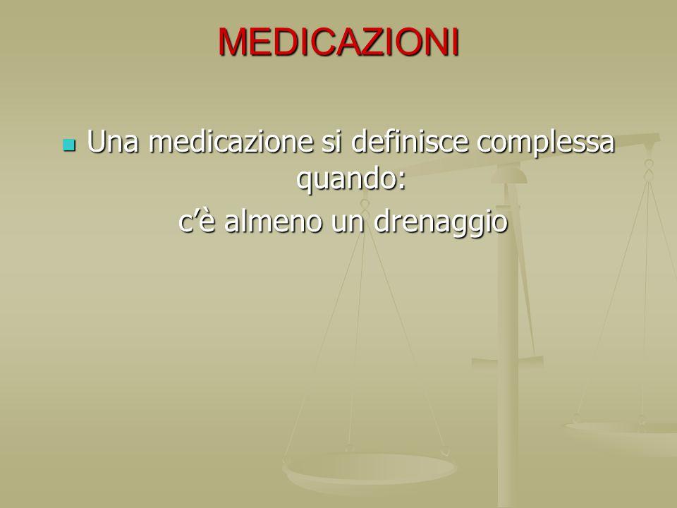 MEDICAZIONI Una medicazione si definisce complessa quando: Una medicazione si definisce complessa quando: c'è almeno un drenaggio c'è almeno un drenag