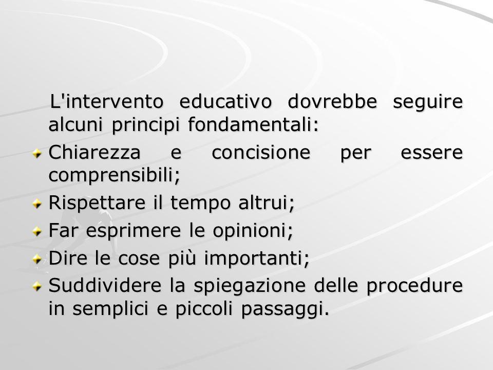 L'intervento educativo dovrebbe seguire alcuni principi fondamentali: L'intervento educativo dovrebbe seguire alcuni principi fondamentali: Chiarezza