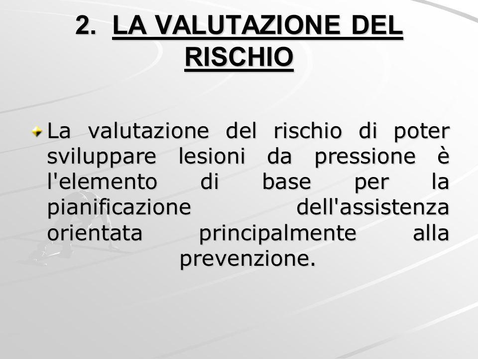 2. LA VALUTAZIONE DEL RISCHIO La valutazione del rischio di poter sviluppare lesioni da pressione è l'elemento di base per la pianificazione dell'assi