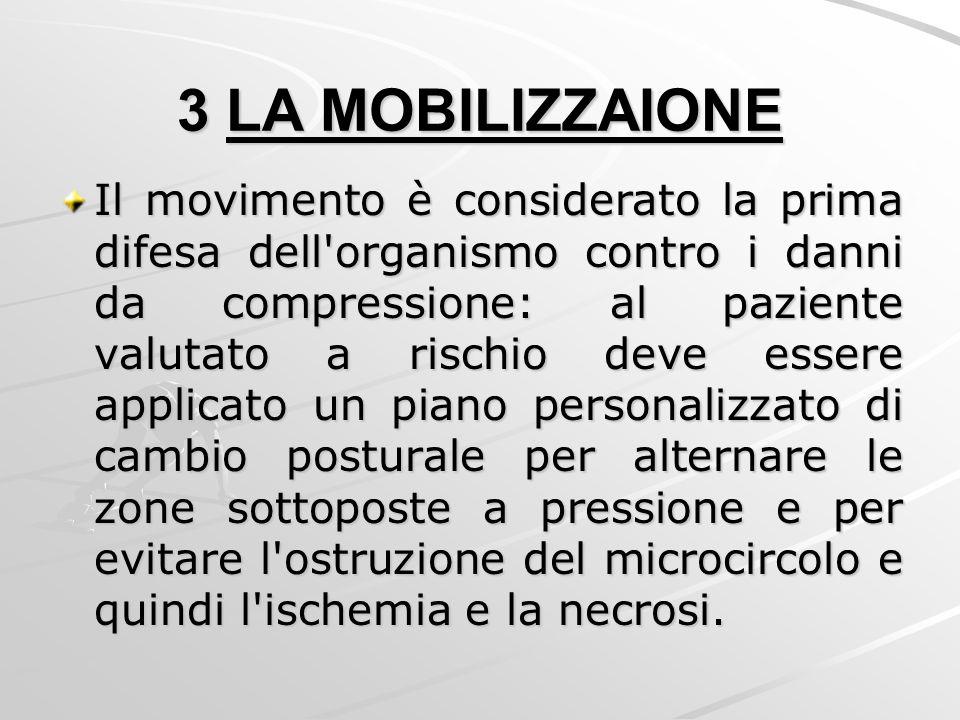 3 LA MOBILIZZAIONE Il movimento è considerato la prima difesa dell'organismo contro i danni da compressione: al paziente valutato a rischio deve esser