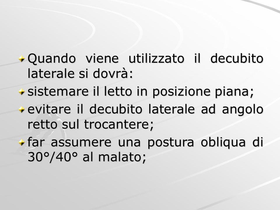 Quando viene utilizzato il decubito laterale si dovrà: sistemare il letto in posizione piana; evitare il decubito laterale ad angolo retto sul trocant