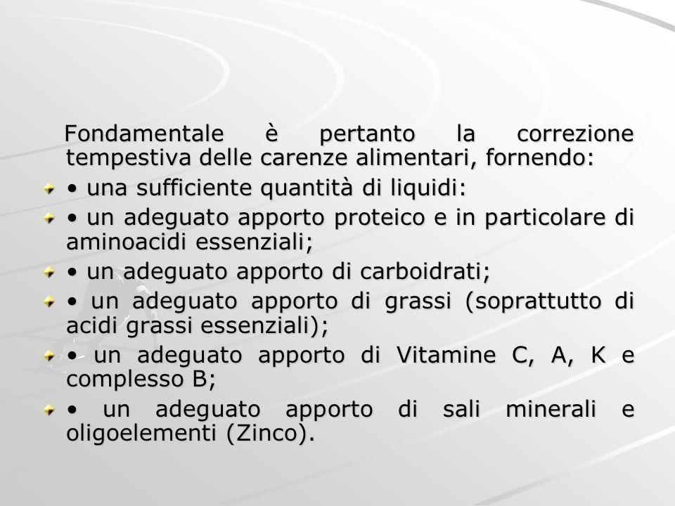 Fondamentale è pertanto la correzione tempestiva delle carenze alimentari, fornendo: Fondamentale è pertanto la correzione tempestiva delle carenze al